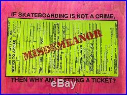 1988 nos SMA Think Crime Misdemeanor Rocco Div Skateboard vintage old rare