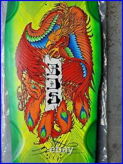 BDS Peacock Skateboard Deck signed Wes Humpston GREEN STAIN Dogtown Alva Powell