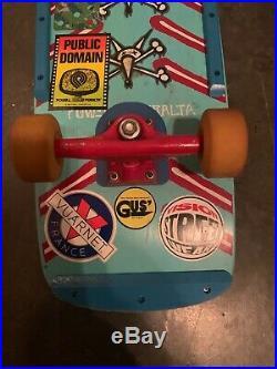 Powell Peralta Vato Rat Bones complete skateboard deck blue 1980s original