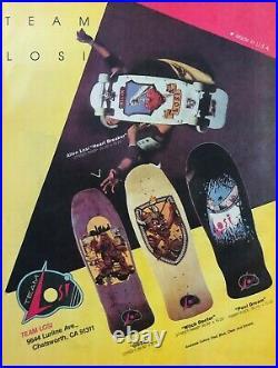 Rare 1986 Team Losi Allen Losi Vintage Heart Breaker Skateboard Deck
