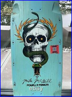 Vintage 1985 OG POWELL PERALTA Mike McGill Skateboard Deck Rare Baby Blue Dip