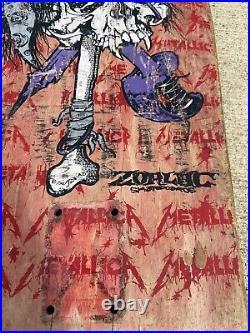 Vintage 80s 1989 Zorlac Metallica Skateboard Pushead Peralta Hawk Metal Band