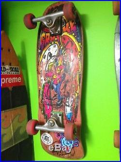 Vintage Claus Grabke Melting Clocks OG Santa Cruz Skateboard Ventures Crossbones