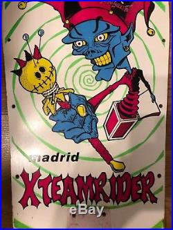 Vintage MADRID X TEAM RIDER JESTER Skateboard Deck OG Rare John Lucero 80s