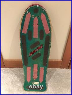 Vintage OG Santa Cruz Slasher Keith Meek Skateboard Deck Teal Dip Rob Roskopp