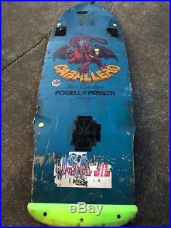 Vintage Powell Peralta Skateboard Deck Steve Caballero. Blue Deck. Gold Dragon