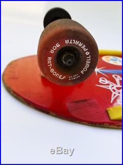 Vintage Powell Peralta Skull & Sword skateboard in red Ray Bones Rodriquez