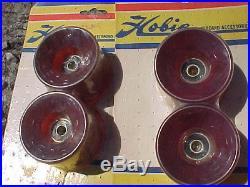 Vintage Set Of Road Rider''4'' Skateboard Wheels N. O. S Bearings Hobie 1970's