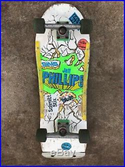 Vintage Sims Jeff Phillips Skateboard. Independent Trucks Vision Blur wheels