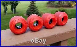 Vintage skateboard wheels Kryptonics 64mm double conical RED old school