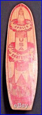 Vtg ANTIQUE SKATEBOARD APOLLO USA SKATESHIP WOODEN SKATE BOARD ROCKET SHIP rare